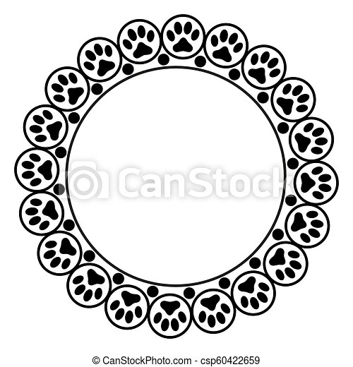 Black animal paw prints round frame