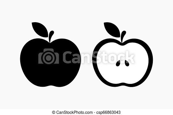 Black Apple Shape Icons Vector Illustration Canstock