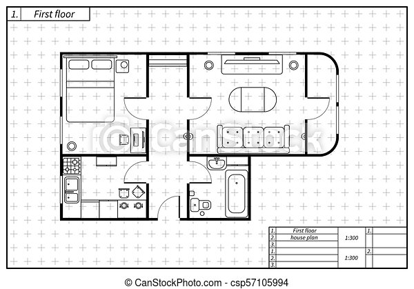 Black architecture plan of house with furniture in blueprint eps black architecture plan of house with furniture in blueprint sketch style csp57105994 malvernweather Choice Image