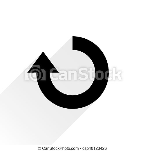 Black arrow icon repeat sign on white background - csp40123426