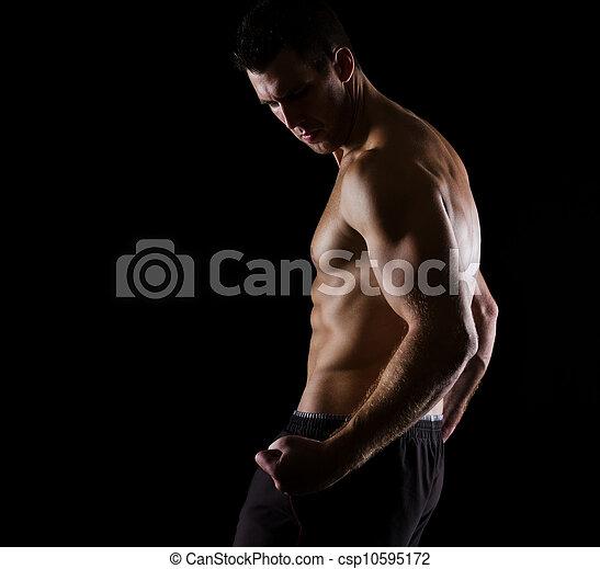 black , atleet, sterke, het poseren, gespierd - csp10595172