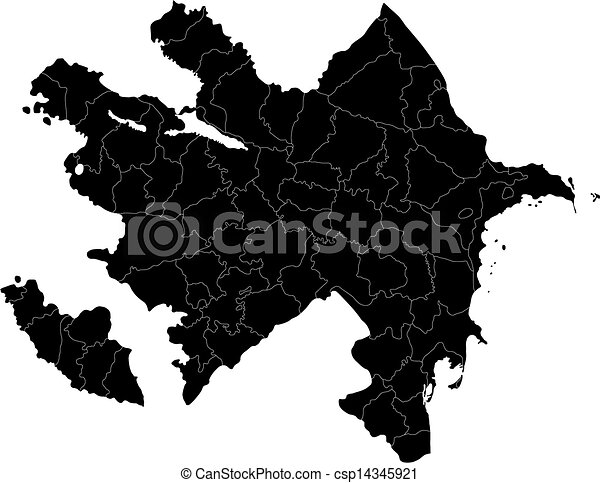 Black azerbaijan map Map of administrative divisions of vector