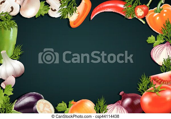 Black Background With Colorful Vegetables Frame - csp44114438