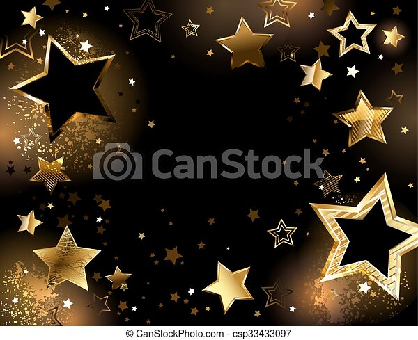 Black background with gold stars - csp33433097