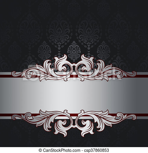 Black Background With Vintage Patterns And Silver Decorative Border