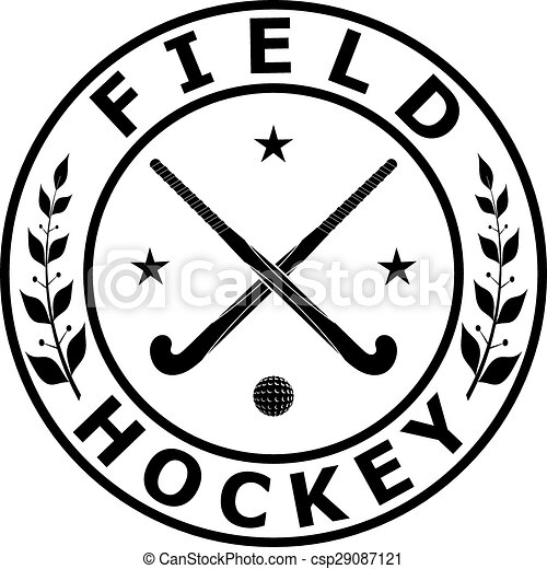 Black Badge Emblem For The Team Field Hockey On A White Background