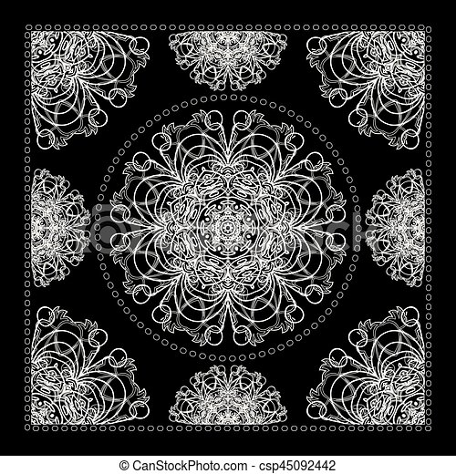 Black Bandana Print Vector Ornamental Tile Pattern With