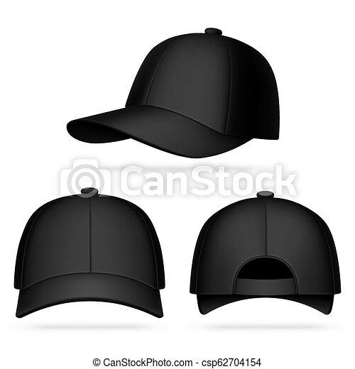 Black baseball cap. Realistic black baseball cap mockup ...
