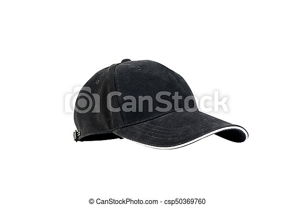1375d6f4 Black baseball cap isolated on white background with clipping path,  concepts of beauty, fashion and sport object.