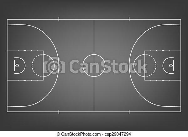Black basketball court - top view. vector eps10 illustration.