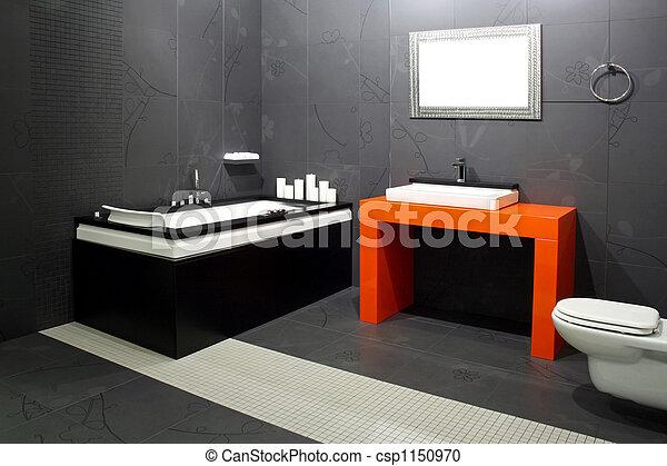 Black Bathroom Contemporary With Orange Wash Basin