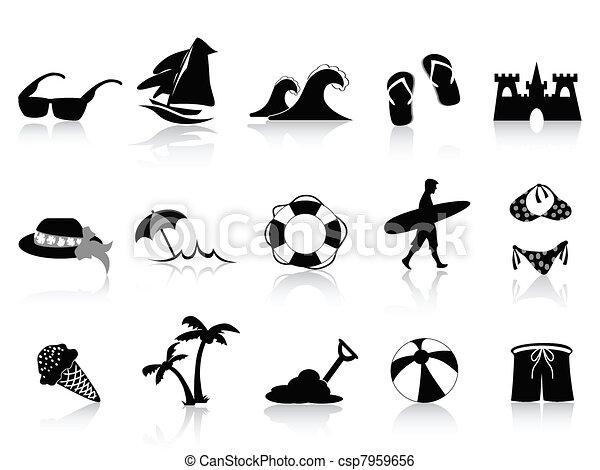 black beach icon set - csp7959656