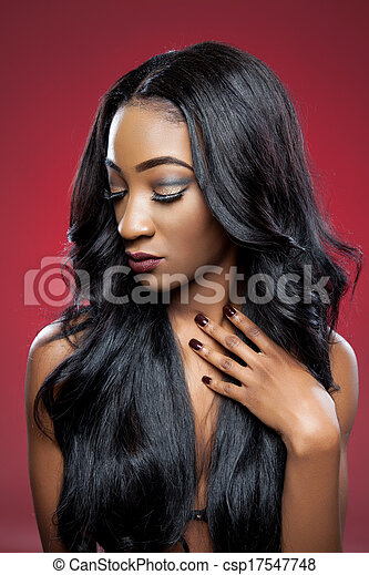Black beauty with elegant curly hair - csp17547748