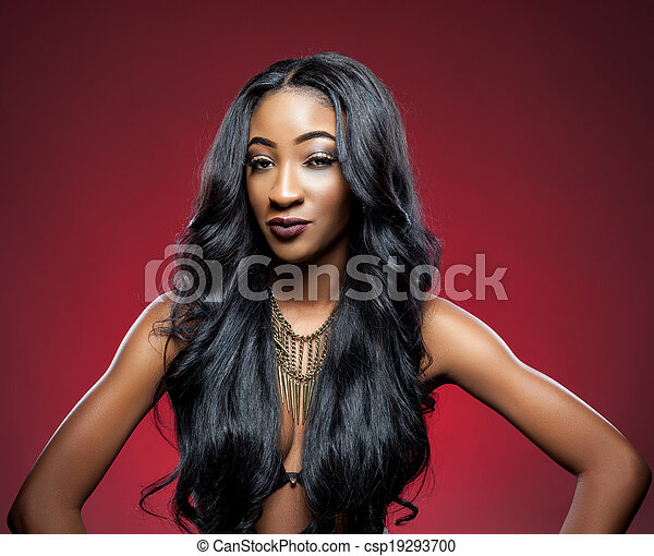Black beauty with elegant curly hair - csp19293700