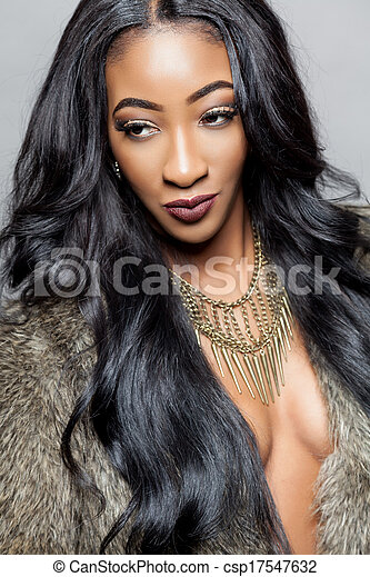 Black beauty with elegant curly hair - csp17547632