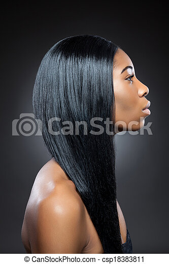 Black beauty with long straight hair - csp18383811