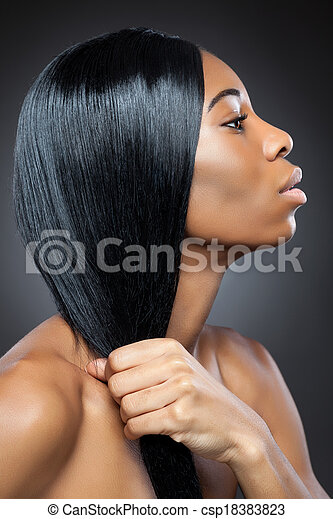 Black beauty with long straight hair - csp18383823