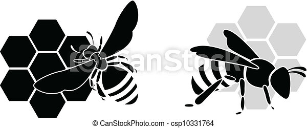 black bee silhouette isolated on w - csp10331764