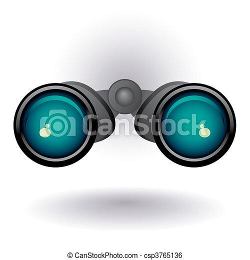 Black binoculars on white backgroun - csp3765136