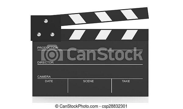 Black blank clapperboard isolated on white background  - csp28832301