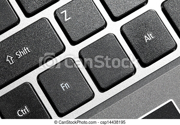 Black blank computer keyboard button with copyspace - csp14438195