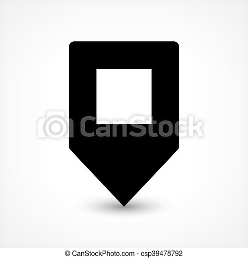Black blank map pin flat location sign square icon - csp39478792