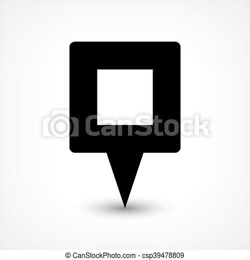 Black blank map pin flat location sign square icon - csp39478809