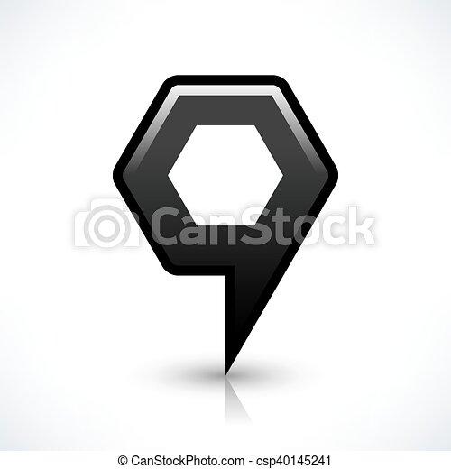 Black blank map pin sign hexagon location icon - csp40145241