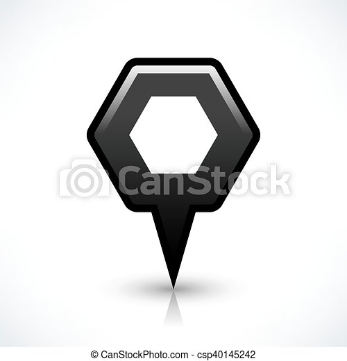 Black blank map pin sign hexagon location icon - csp40145242