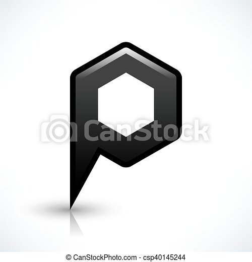 Black blank map pin sign hexagon location icon - csp40145244