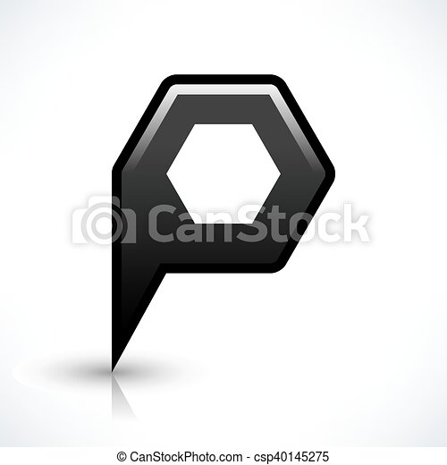 Black blank map pin sign hexagon location icon - csp40145275