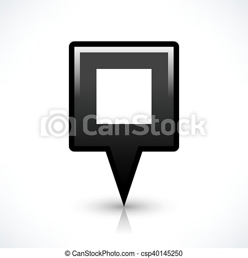 Black blank map pin sign square location icon - csp40145250