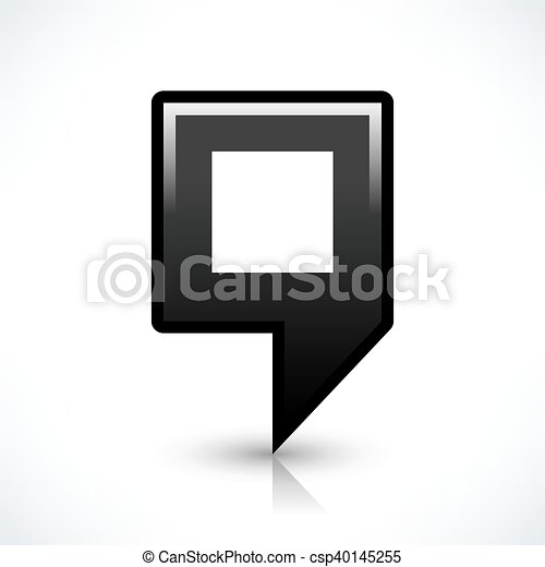 Black blank map pin sign square location icon - csp40145255