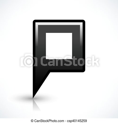 Black blank map pin sign square location icon - csp40145259