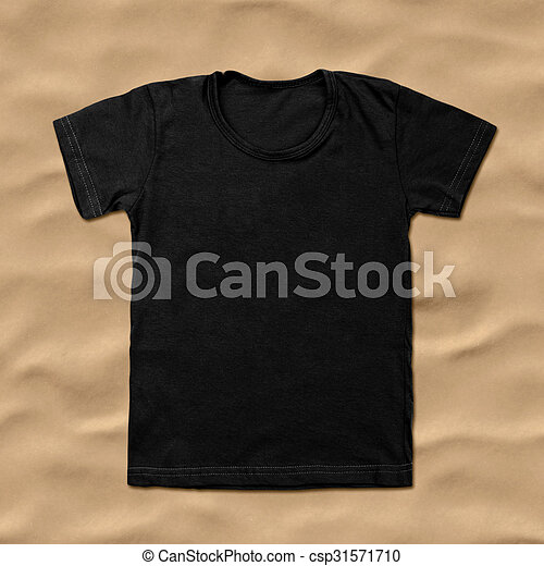 Black blank t-shirt on sand background. stock photography - Search ...