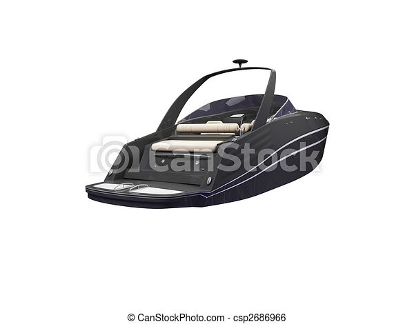 Black Boat isolated back view - csp2686966