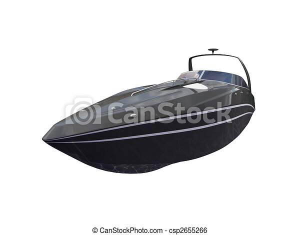 Black Boat isolated front view - csp2655266