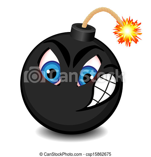 Black bomb with a funny face  - csp15862675