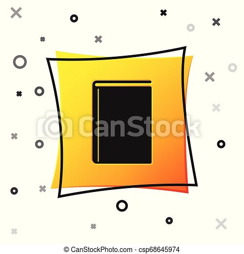 Black Book icon isolated on white background. Yellow square button. Vector Illustration - csp68645974