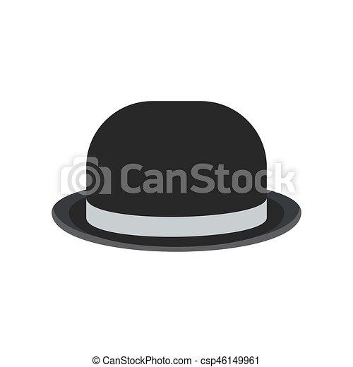 60626284a4f Black bowler hat. Black retro vintage man bowler hat for gentlemen ...
