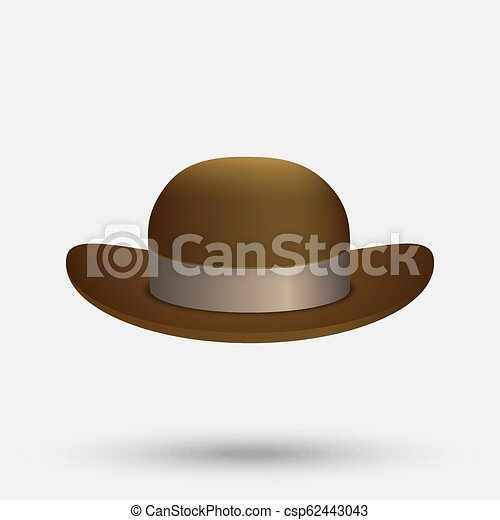 faa2d29f1e8bc Black bowler hat. Bowler hat on a white background vector illustration.