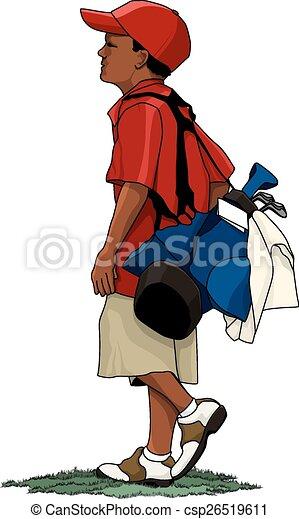 black boy golfer with golf bag dark skinned young boy vector rh canstockphoto com Masters Golf Clip Art Cartoon Golf Bag