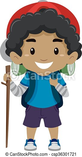 Black Boy In Camping Costume Vector