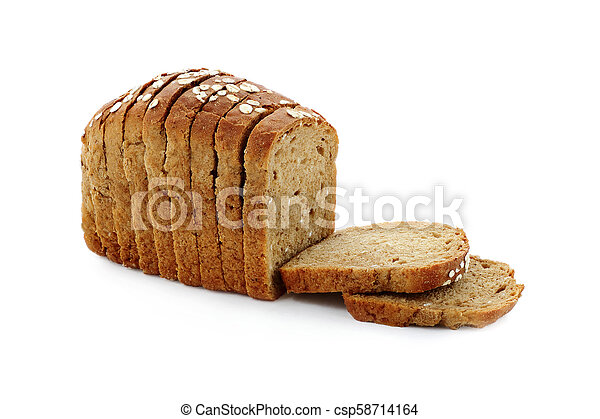 black bread with oat flakes on white background isolated - csp58714164