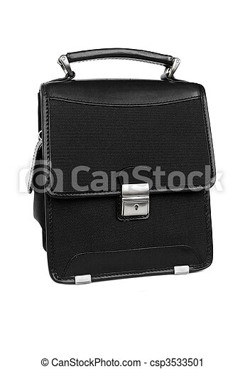 Black briefcase isolated - csp3533501