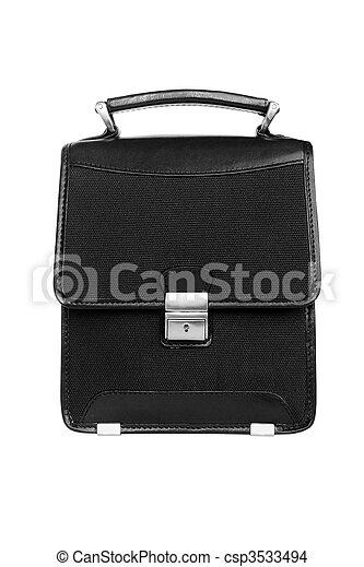 Black briefcase isolated - csp3533494