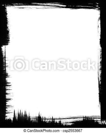 Black Brush Frame Black Brushstrokes Form A Graphic Frame Around A White Background Canstock