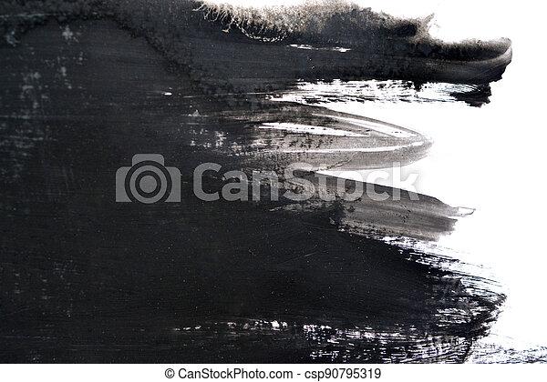 black brush strokes on white paper - csp90795319