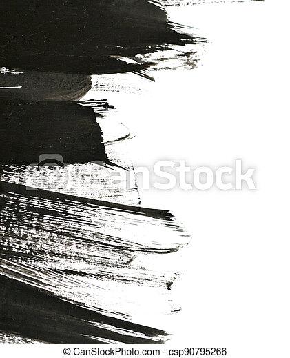 black brush strokes on white paper - csp90795266