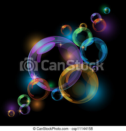 Black bubble vector background - csp11144158